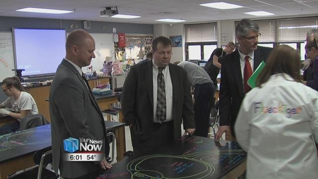 The Ohio State Education Superintendent and the President of the Ohio State Board of Education toured Ottawa Glandorf High School