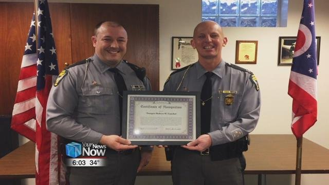 The Ohio State Highway Patrol Lima Post honored a trooper who helped a driver who was choking.