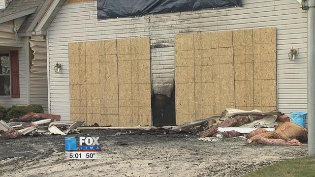 The garage suffered severe fire damage while the rest of the house received smoke and heat damage.