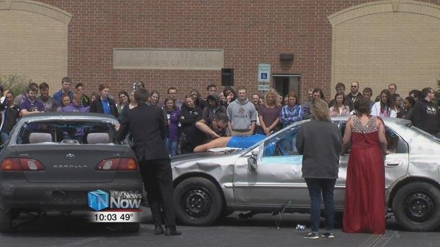 The school partnered with local law enforcement and emergency services to put on the mock crash