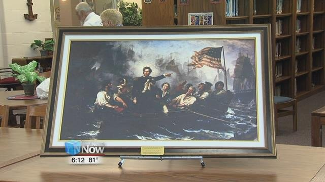 The painting is from Perry's victory on Lake Erie on September of 1813.