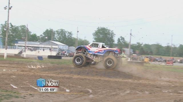 the rain that came through earlier cleared in enough time for the monster truck competition in the evening.