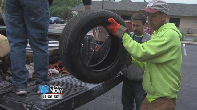 Dumpsters and garbage trucks were set up at five different sites in Lima today in an effort to help people get rid of the trash they don't want anymore.