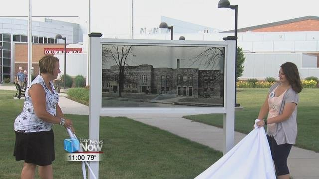 The Columbus Grove High School Alumni Association dedicated a new memorial Saturday afternoon in front of the recently built school.