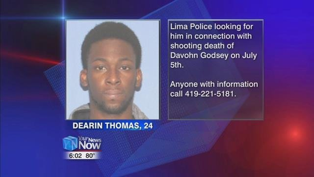 24-year-old Dearin Thomas, also known as Dearin Jackson, is wanted by the Lima Police for shooting Davohn Godsey to death at The Gas Station Bar.