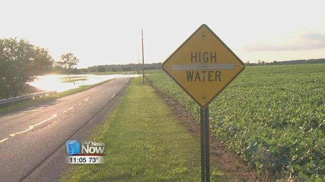 After several inches of rainfall yesterday, flooded fields and creeks have made it over roadways across Putnam County.