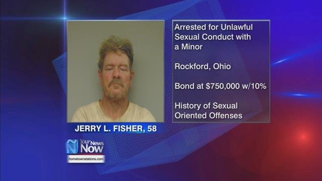 Mercer County Sheriff Jeff Grey releasing the information Monday morning that 58-year-old Jerry Fisher of Rockford was taken into custody Sunday for unlawful sexual conduct with a minor.