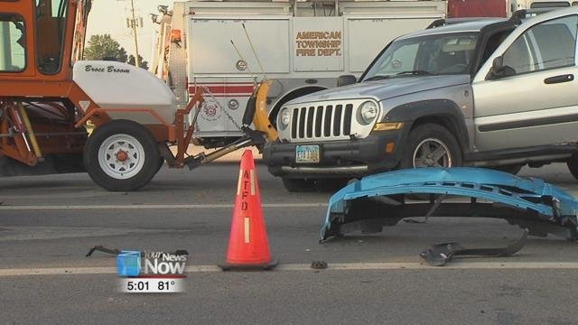 Traveling westbound on Allentown Road, officials say the driver of a gray Jeep failed to yield to a stoplight at the Eastown Road intersection.