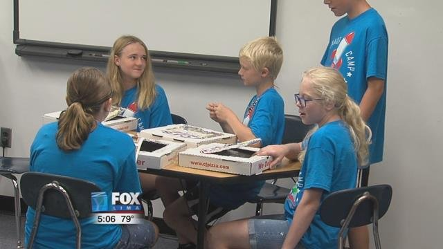 Friday was the final day of camp and the more than a dozen youngsters were making solar ovens out of pizza boxes and aluminum foil.