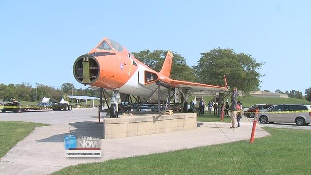 The F5D Skylancer airplanehas been outside the museum since 1972 and was once piloted by Neil Armstrong before he became an astronaut.