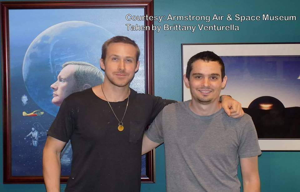 "Actor Ryan Gosling and Director Damien Chazelle visited the Armstrong Air and Space museum to research Neil Armstrong and the Gemini VIII mission for the movie ""First Man."""