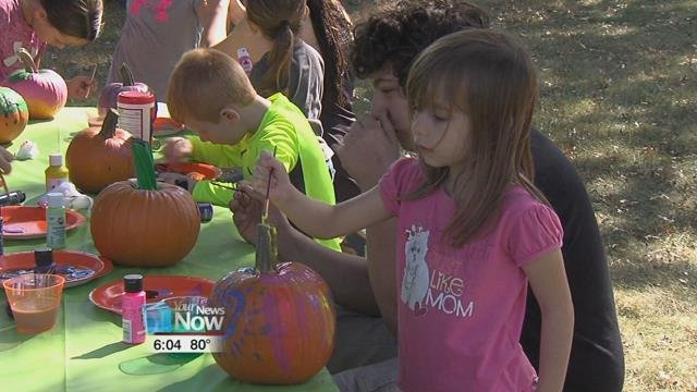 """The council held their first ever """"Tree Fest"""", kids could create art with items out of nature, paint a pumpkin and take a hay ride though Faurot Park."""
