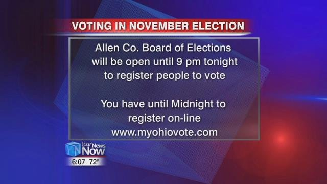The Allen County Board of Election will be open until 9 pm Tuesday (10/10/17) to get people registered.