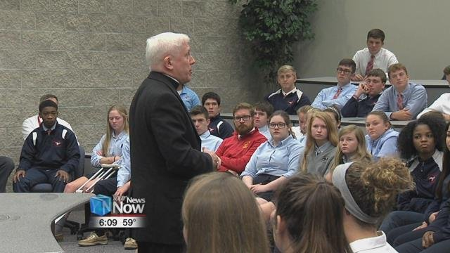 Bishop Thomas says he enjoys talking to students and getting to know them every time he visits different schools.