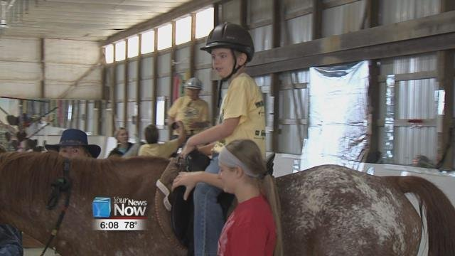 The riders in the program went out and got pledges for them to ride and today they were able to get on the horse and show what they can do for those donations.