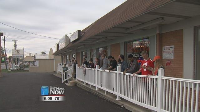 The Tat-2-U shop held a contest Saturday to see who could keep one hand on the railing outside the shop the longest.