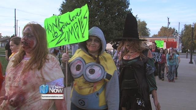Dozens of people gathered in Downtown Delphos on Sunday to participate in the 5th annual Delphos Zombie Walk.