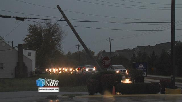 According to city officials, the tornado hit part of the city around 3:30 p.m., causing damage to businesses and shutting down power all around Celina.