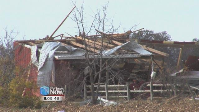 Damage could be seen on and near Route 29 close to the Indiana-Ohio border.