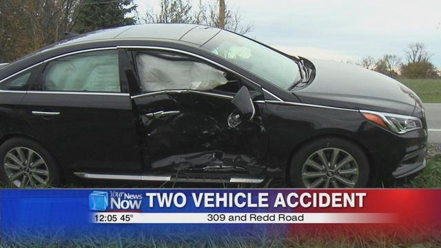 a black Hyundai traveling southbound on Redd Road collided with a silver Cadillac at the 309 intersection between Elida and Delphos.