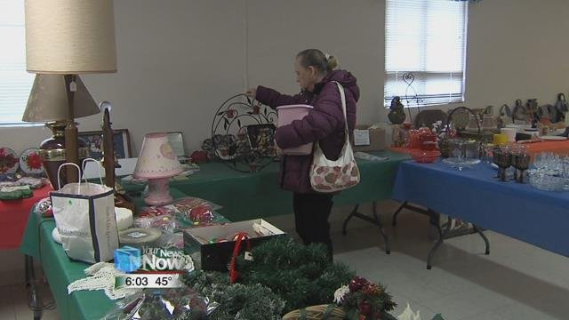 People were able to shop the tables filled with holiday decor, glassware, and baked goods.