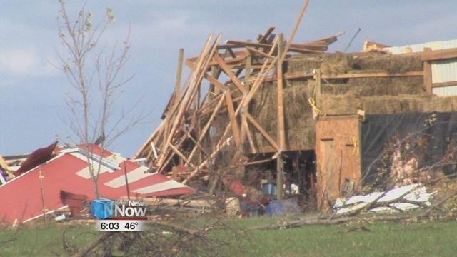 Farms in rural Mercer County that were in the path of the tornado suffered a lot of damage, with debris littering fields and buildings.