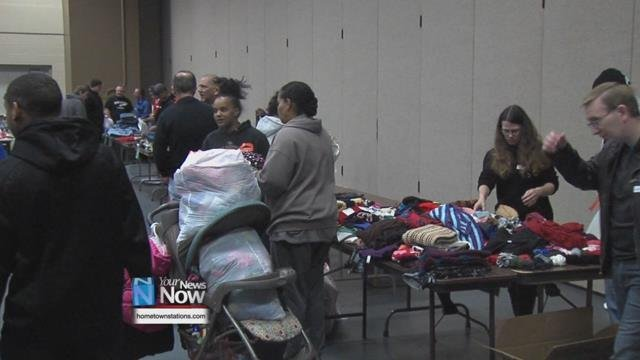 The event continued the Civic Center's tradition of giving Thanksgiving guests a week's worth of groceries after they get their hot Thanksgiving dinner, so that they have meals to eat once they leave.