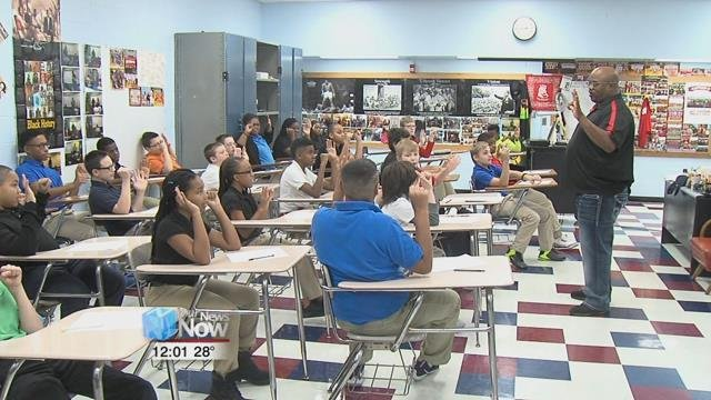Lima North Middle School students took their first steps towards a better world in their Peace Ambassador training Wednesday morning.