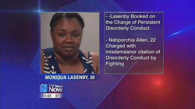 26-year-old Moniqua Lasenby and charged her with persistent disorderly conduct and booked her in the Allen County Jail.