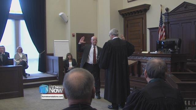 The courtroom was packed Friday (12/29/2017) as Andrew Augsburger was sworn in to the Auglaize Municipal Court in Wapakoneta.