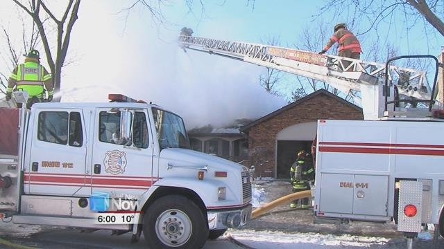 The fire happened on Benham Drive right around one o'clock, with flames shooting through the roof.