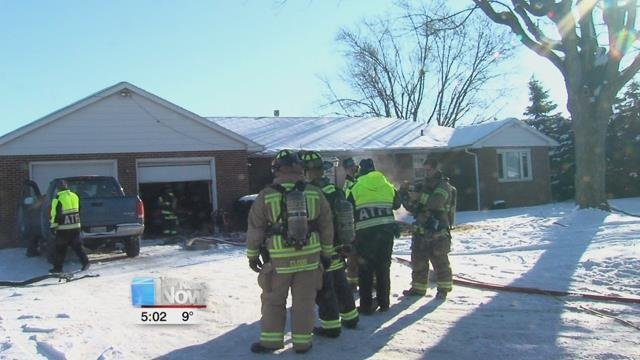 Firefighters quickly put out the fire, but not before it did damage to the ceiling and rafters in the home.