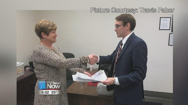 Travis Faber turned in his petitions to run in the May Primary for the representative seat that is made up of Mercer, and parts of Auglaize, Shelby, and Darke counties.