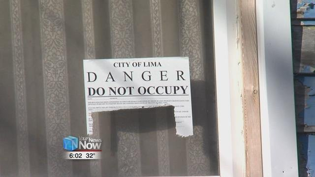 The home had a sticker in the window, that designated the home unsafe to live in by the City of Lima.