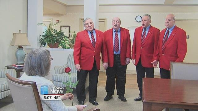 The Lima Beane Chorus sent out several quartets around the area, including Lima Convalescent Home, to deliver the valentines, singing different songs and presenting a rose to the recipient.