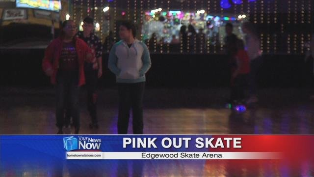 "Children celebrated with a ""Pink Out Skate."""