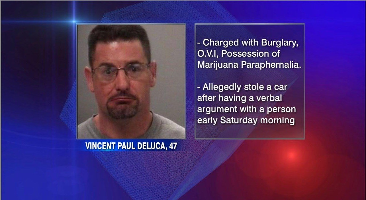 The Allen County Sheriff's Office is reporting that 47-year-old Vincent Paul Deluca of Lima is facing multiple charges including burglary, OVI, possession of marijuana paraphernalia, with additional charges possible.
