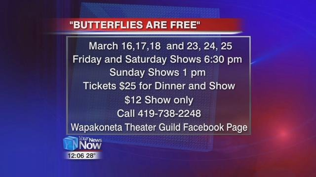 """Butterflies Are Free"" runs Friday, Saturday, and Sunday the next two weekends, upstairs in the Wapakoneta Eagles Club."