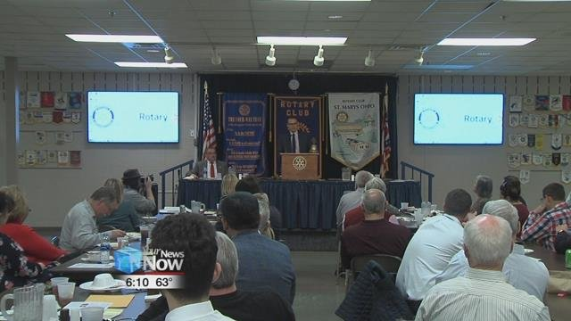 Preparing for the primary election in May, Republican candidates Pat McGowan and Doug Spencer answered questions before the Rotary Club in St. Marys.