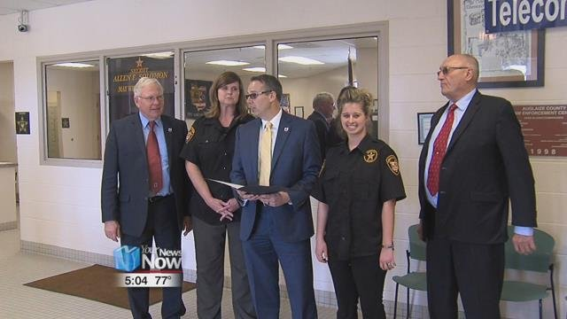 The Auglaize County Commissioners visited the Sheriff's Office to read off a proclamation saying that April 8th through the 14th is National Telecommunicator's Week