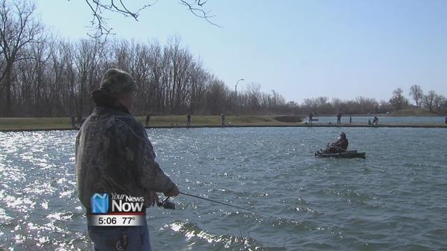 Just over 1,200 catchable-size rainbow trout were released into the lake Thursday morning (4/12/18) and dozens of fishermen came out to reel in some of the action.