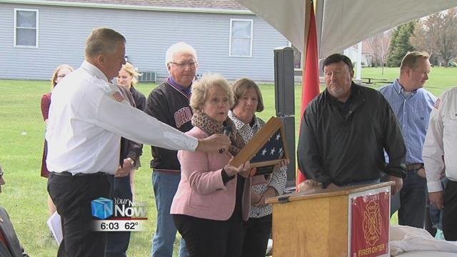 The Ft. Loramie Firefighters and community and the friends and family of Michael Aselage gathered along State Route 705 to rename a section of the highway on the east side of town after Aselage.