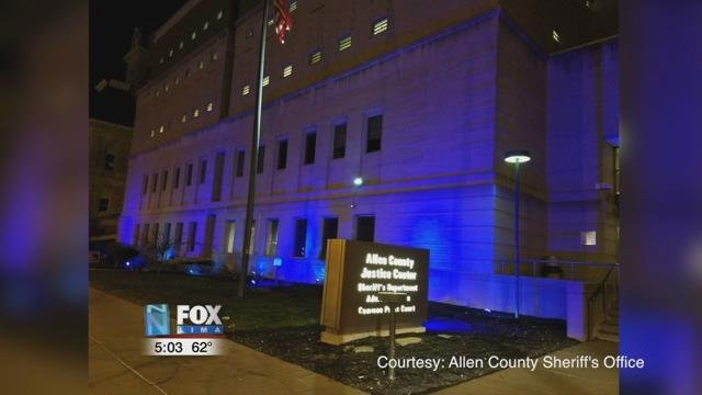 Over the month of April, blue lights have been set up outside the office downtown.