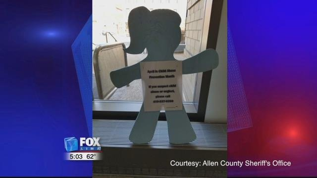 Also on display is a child silhouette provided by Allen County Children Services displayed in the lobby.