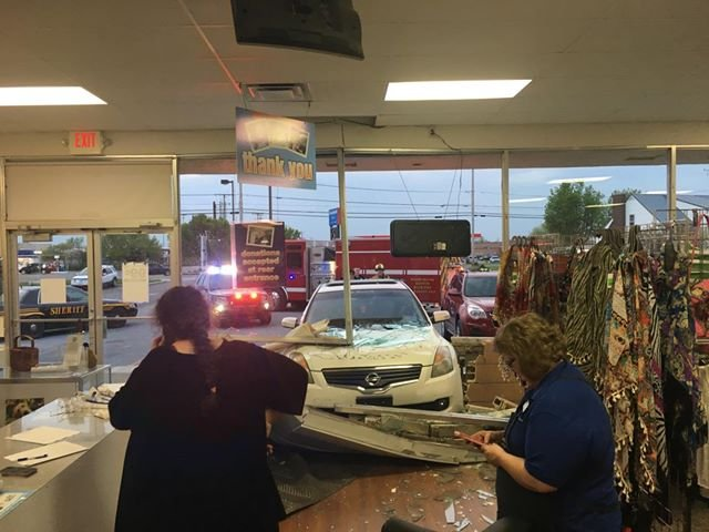 Kenton police confirm a car slammed into the front of the Goodwill store on East Columbus Street, just after 8:40 p.m. Friday evening.