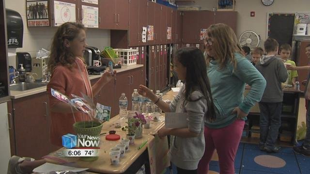 All the 4th-grade classes have been studying economics and opened up their own business.