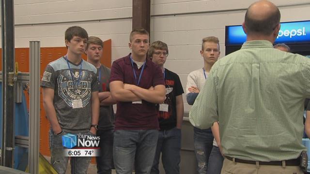 Bath High schoolers, getting a tour of U.S. Plastics located in Bath Township.