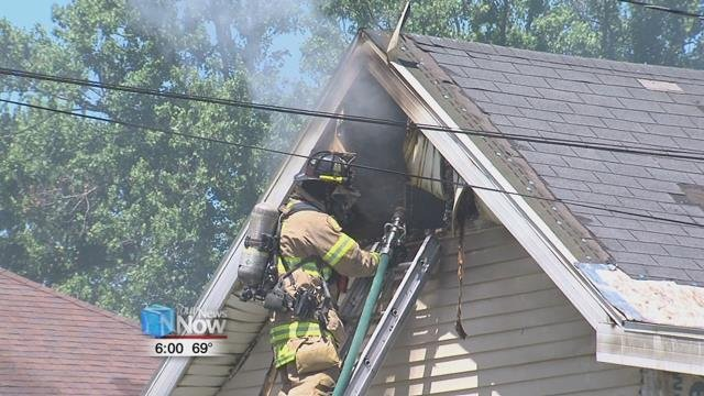 According to the Delphos Fire Department, flames were coming out the back of the house at 208 West Clime Street.