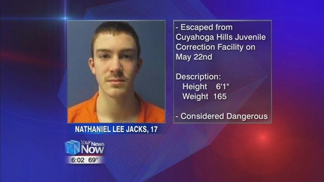 The state patrol says 17-year-old Nathaniel Lee Jacks escaped the Cuyahoga Hills Juvenile Correctional Facility on May 22, 2018, and has been on the run since.