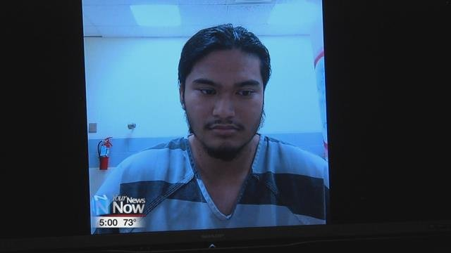 Tristan Ascura of Lima appeared on a video call for his initial appearance in Lima Municipal Court.